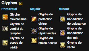 Glyphes Paladin vindicte pve 4.1